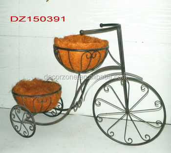Bicycle Tricycle Garden Iron Ornaments With 2 Coconut Planter