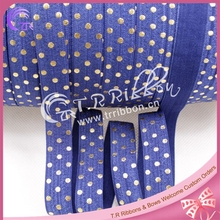5/8'' dots printed elastic stretchy ribbon navy color