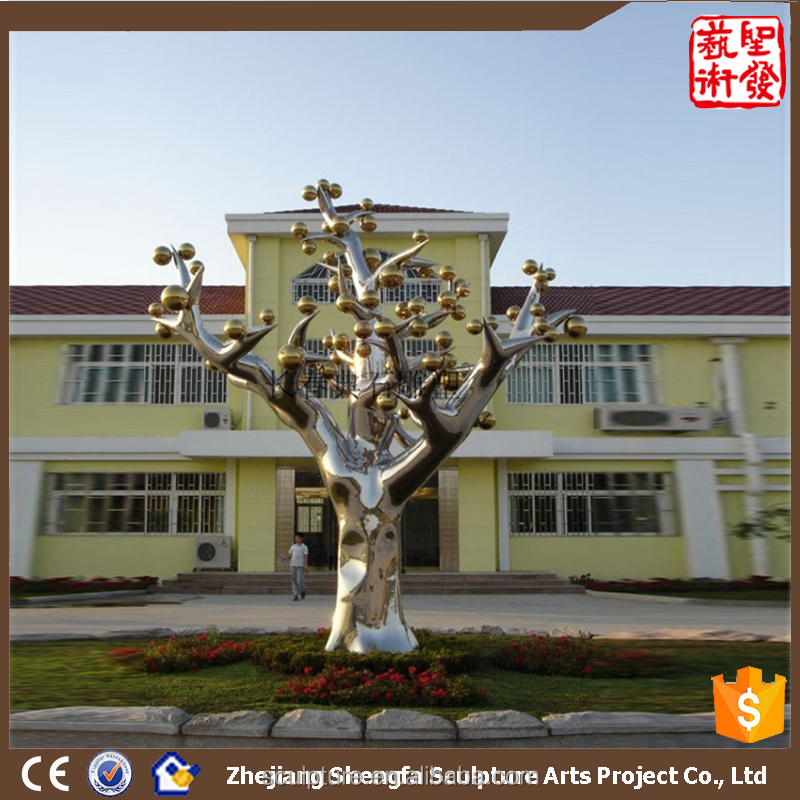 Large Modern Famous Arts Polished Stainless Steel Tree Sculpture for Garden Decoration