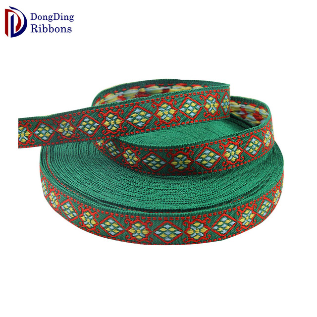 Excellent quality wholesale green Festival decorations embroidered ribbon,  25mm Polyester Floral Jacquard Ribbon