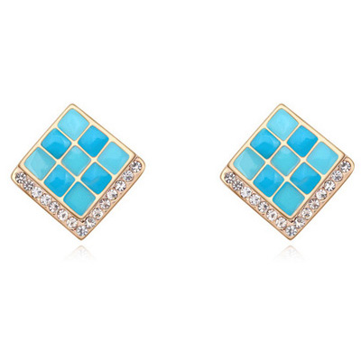 2016 Spring Color Bright Square Shaped Enamel Decorated Yellow Gold Fancy Earrings