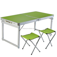 Crazy selling fold up camping picnic/dinner table with chair and umbrella HF-19-25