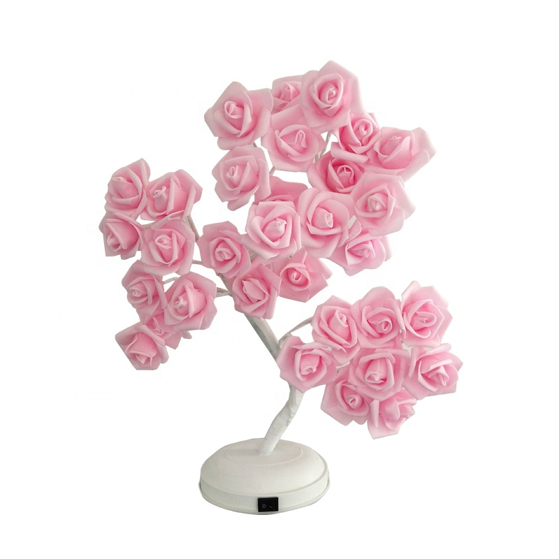 45cm Hot Sale Metal Trunk Table Decoration Simulation 3d Rose Flower Bonsai Tree Light Waterfall Led Lights
