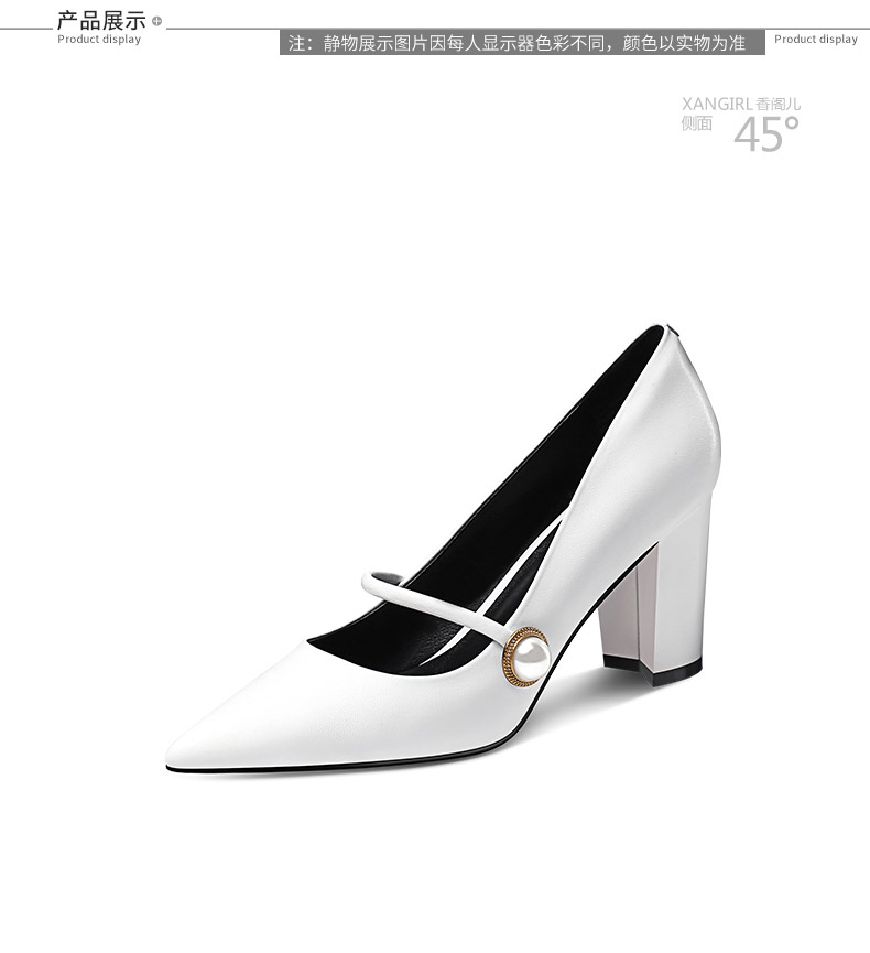 decorated cake heel women shoes pearl pointed hot toe 2018 genuine leather new high qIHEP7ww
