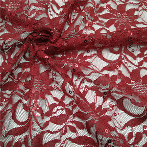 Beautiful nigeria red sequins lace,raschel lace stretch fabric for dress