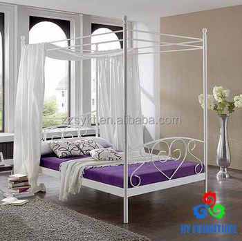 Modern Canopy Queen White Metal Bed Whole