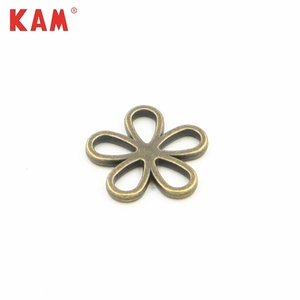 Custom fashion nickle free anti brass flat back flower metal buckle for handbag dress clothing shoe