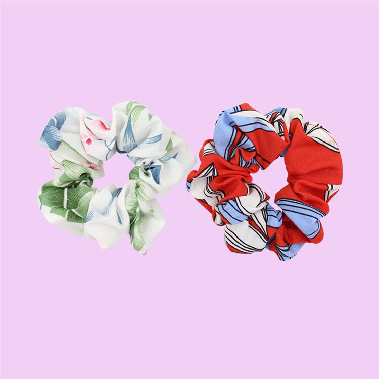 Hot Sale High Quality Multicolor Custom Logo Braided Pleated Scrunchie For Hair Band