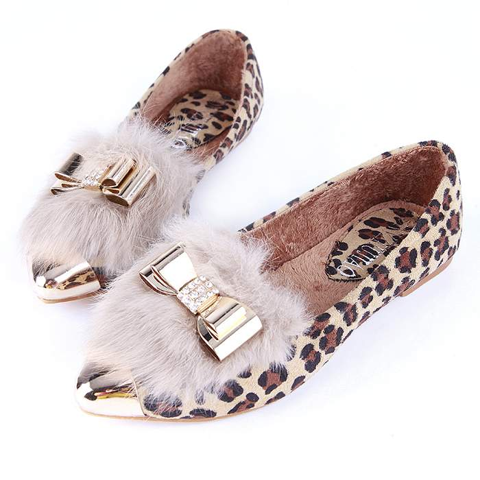 free shipping hot sales, female's trend pointed toe leopard print shoes, color bow flat bottom single shoes ,drop shipping