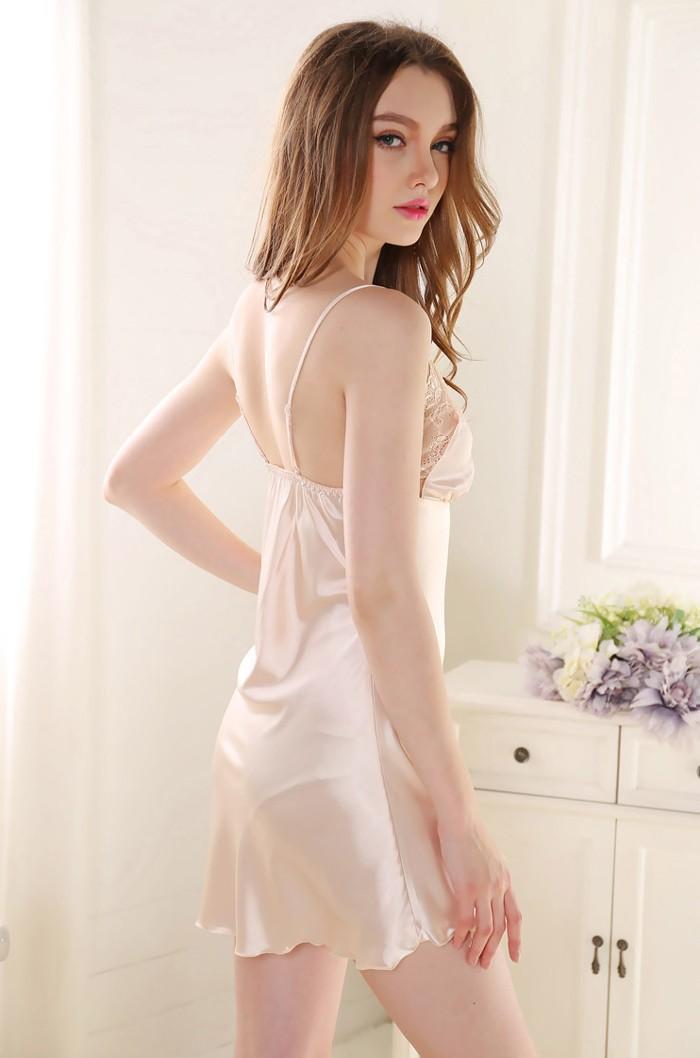 c5ddf9230a1 2019 Wholesale Women Sexy Sleepshirt Silk Night Gown Satin Sleep Shirt  Sleeveless Home Clothes V Neck Night Shirt Summer Sleep Wear Night Wear  From Yabsera