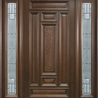 American Exterior House Carved Solid Wooden and Glass Entry Doors With Side Lite