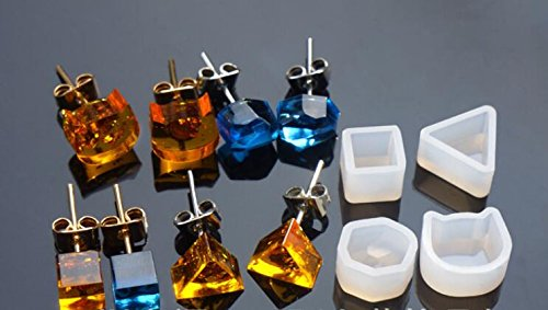 Get Quotations 4 Pairs 8pcs Orted Earrings Silicone Mold With 10pcs Silver Posts Flat Pad Erfly