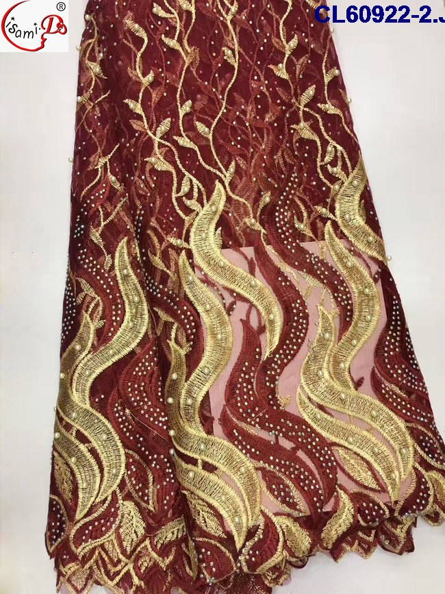 summer style mixed red and gold color with pearl guipure fabric lace + lightweight french lace