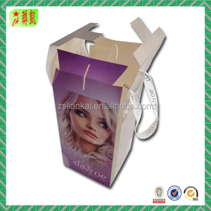 clear PVC window paper clamshell packaging box with handle