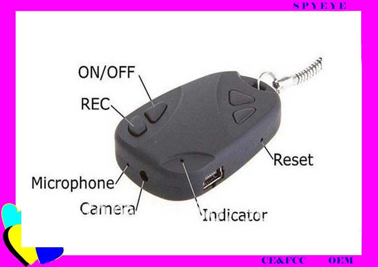 car key chain 720x480 mini camera 808 support TF Card spy hidden camera