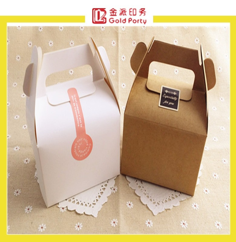 factory customized paper cake box with handle, printing customed tall cake box