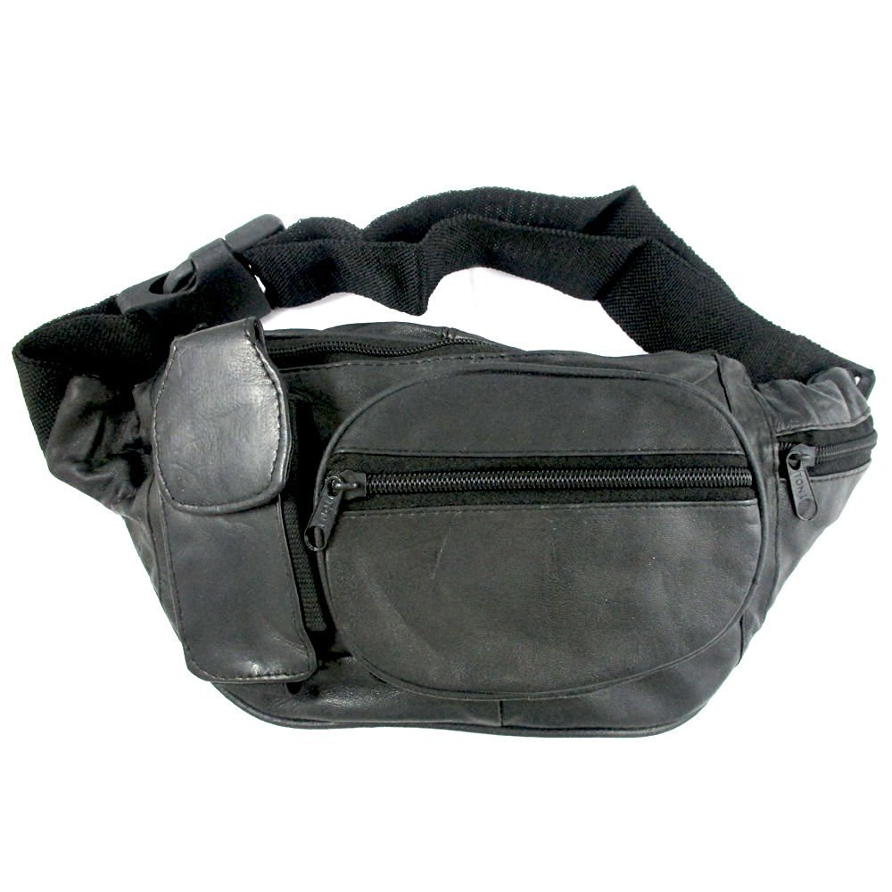 398f515c7fa3 Genuine Leather Fanny Pack Belt Waist Pouch Hip Travel Bag Mens Womens  Black New