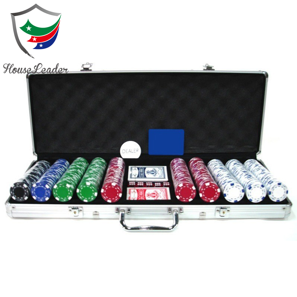 Poker Chip Set 500 Dadi Chip Texas Hold'em Carte con il Caso di Alluminio Argento