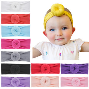 Baby Girl Top Knot Donut Headband Round Knot Bun Head Wrap Shower Gift Elastic Soft Turban Baby Topknot Headbands
