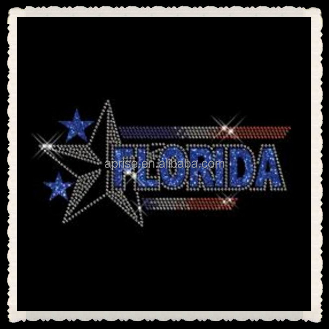 Aprise - Florida design rhinestone & glitter heat transfer iron on motif