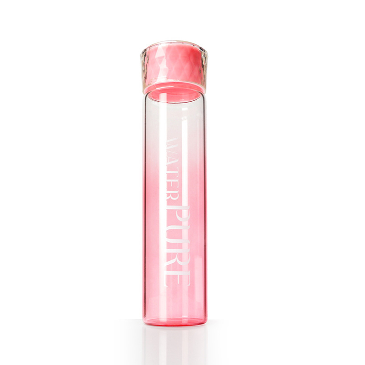 Clear Private Label Diamond Lid Frosted Sports Bottle Glass Water Bottle
