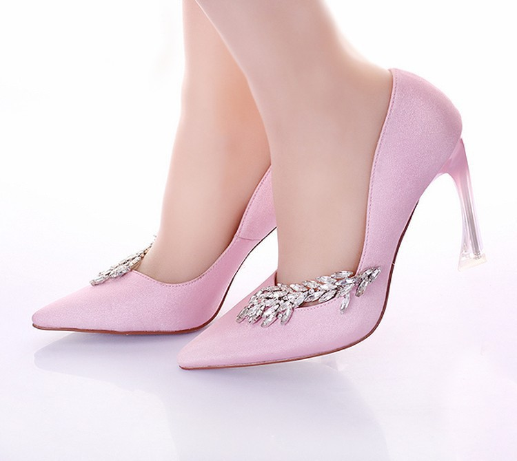 928f96ad834 Get Quotations · Fashion Women Pumps Strange Heel Bridal Wedding Party Shoes  Pointed Toe Pink Banquet Dress Shoes Satin
