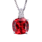 Ladies Ruby Pendent Necklace Chain 925 Sterling Silver Princess
