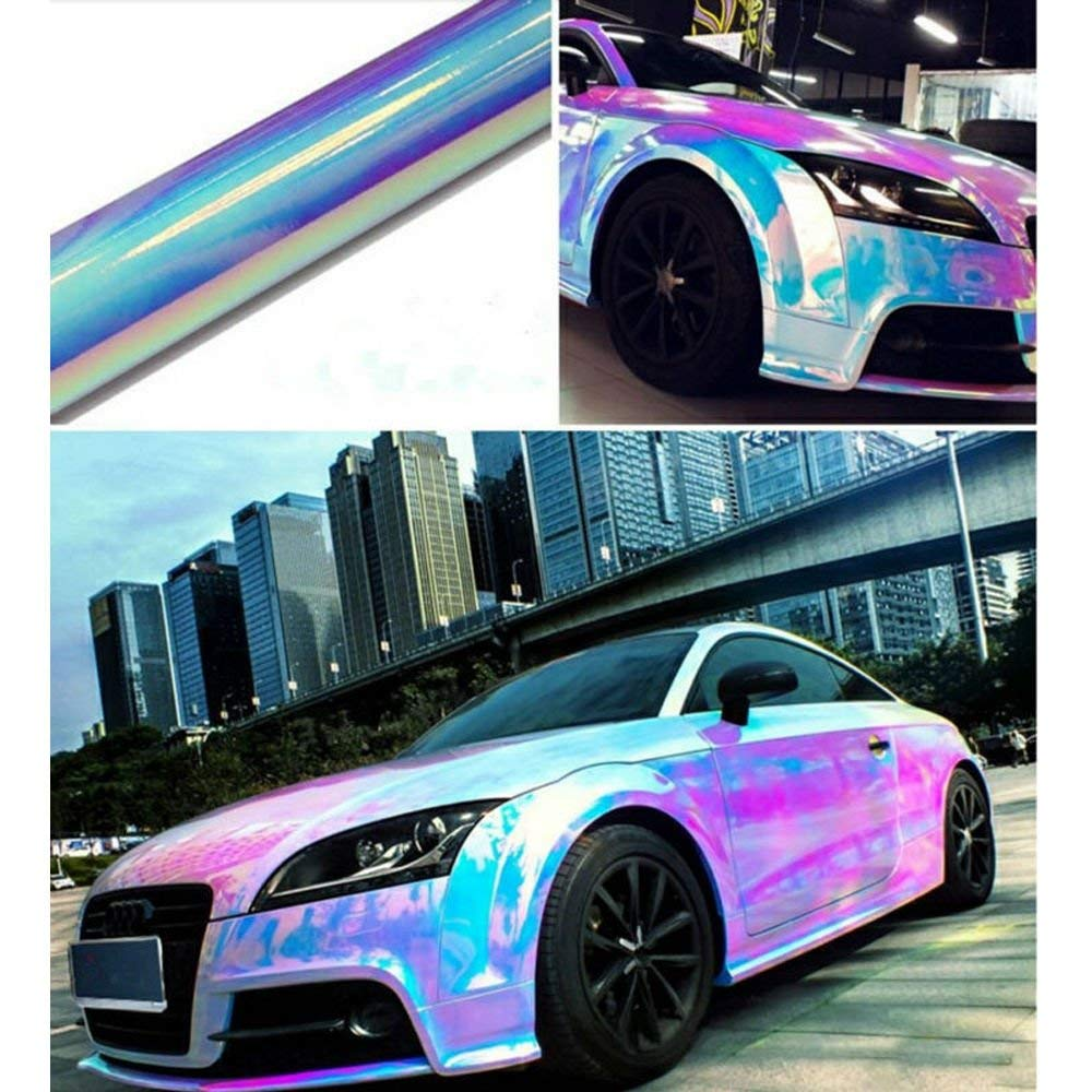 Get quotations · hoho 54x39 neo chrome car vinyl wrap film holographic rainbow bubble free car