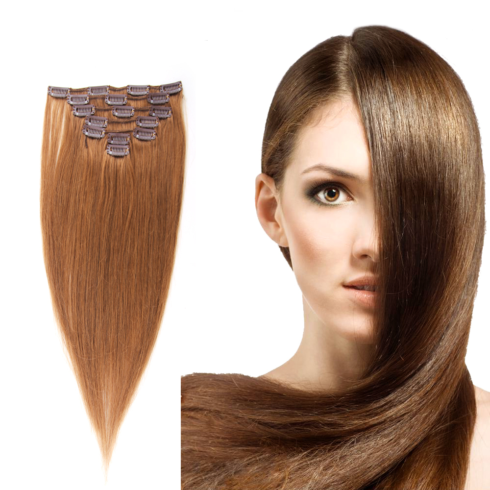 Brazilian Clip In Hair Extensions #8 Ash Brown 100% Human Remy Hair Clip Ins 70g/7pcs/set Crazyqueen Hair Products