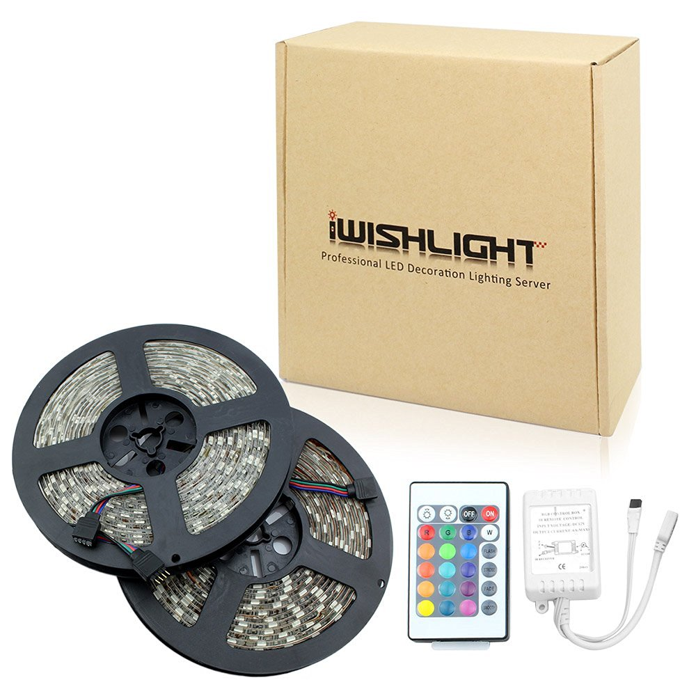 IWISHLIGHT™ 10M 32.8Ft SMD 5050 600LEDs/2rolls Water-resistant Flexible RGB LED Strip Tape Lighting + 24Key Remote + Receiver Box. Decorate your garden, passageway and more