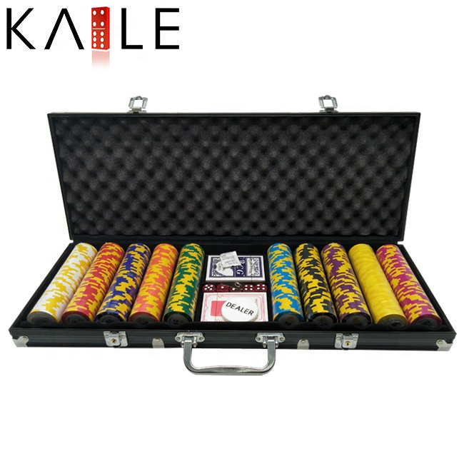 500 Stuk Clay Poker Chips Set met Zwarte Aluminium Case