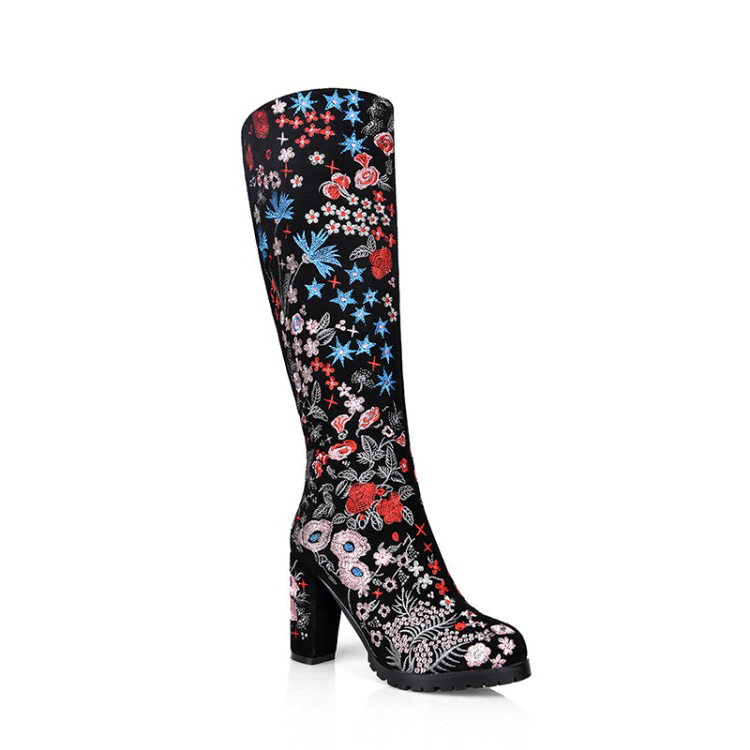 2017 high quality National women leather boots embroidery leather knee high boots