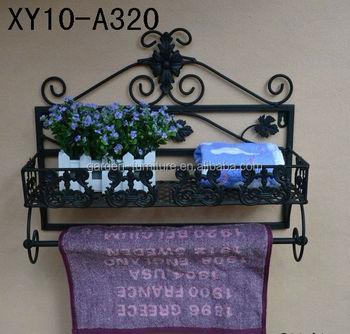 wrought iron bathroom shelf. XY10-A320 Wrought Iron Bathroom Towel Rack Home Organizer Decorative Scroll Work Wall Metal Shelf R