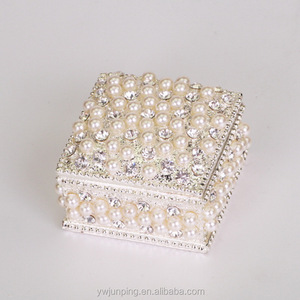 Square Shape Metal Alloy Pearl Fancy Small Size Jewelry Box