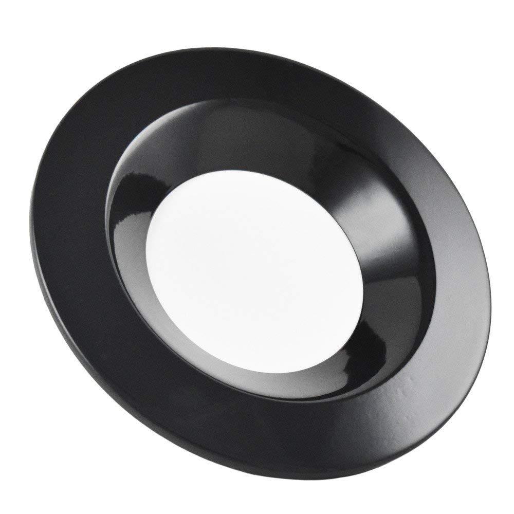 Luxrite 5/6 Inch Downlight Trim Ring, Black Finish, Recessed Light Fixture Trim for Luxrite LED Downlight, 1-Pack