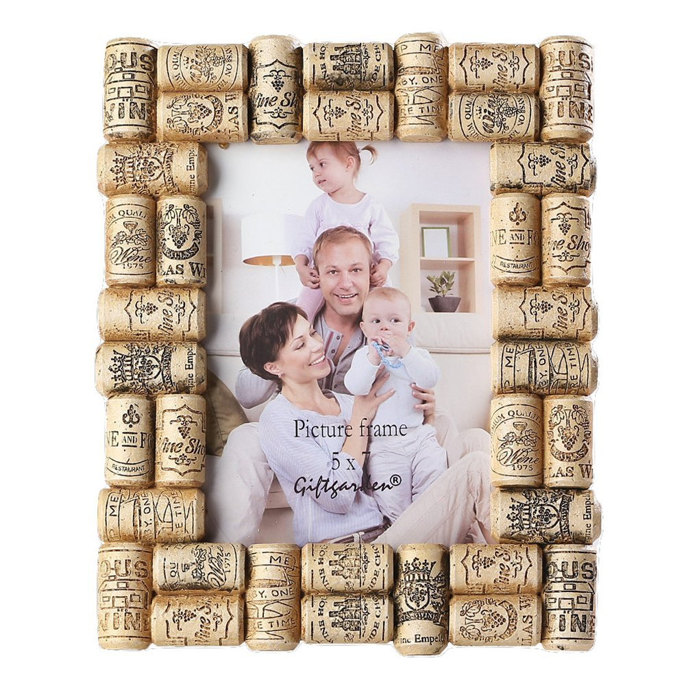 Giftgarden Friend gift 5 by 7 Inch Picture Frame Wine Cork Crafts for Photo 5x7