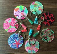 Personalized Blank Lilly Pulitzer Monogram Acrylic Keychains