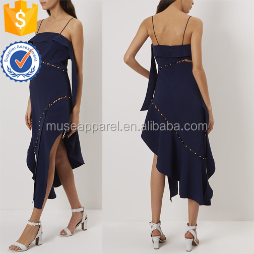 New Navy Pearl Studded Strap Cropped Women Dress OEM/ODM Women Apparel Clothing Garment Wholesaler