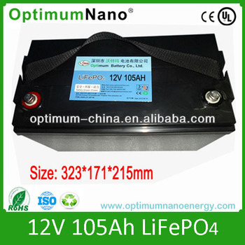 12v 105ah lifepo4 battery for electric boat trolling motor for Electric trolling motor battery size
