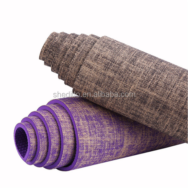Luxury scratchy texture natural fiber ,free of harmful substances dual sided non slip premium jute unique hatha yoga mat