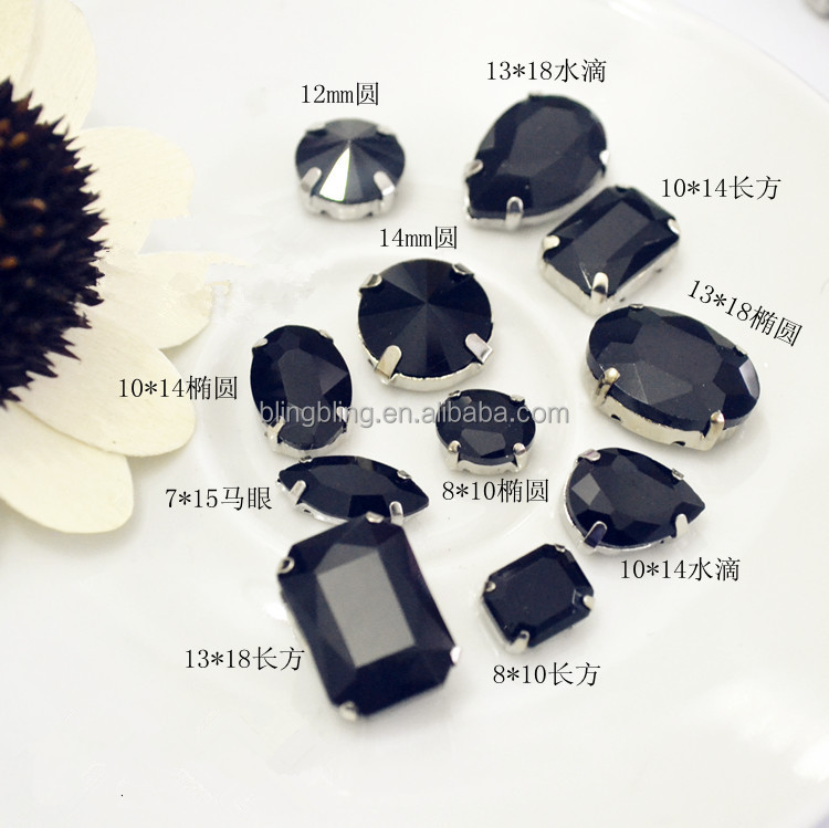 Mixed Shapes Mixed Sizes Sew On Rhinestone with Claw Glass Crystals Sewing Stone For Clothes Decoration