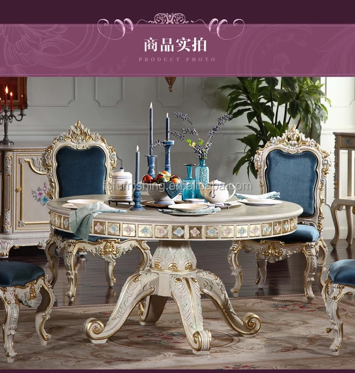 Royal Furniture Solid Wood Hand Made Antique With Carving Round Dining Table And Dining Chair Set View Antique Calssic Dining Room Furniture Momoda Product Details From Foshan Momoda Furnishing Trade Co Ltd