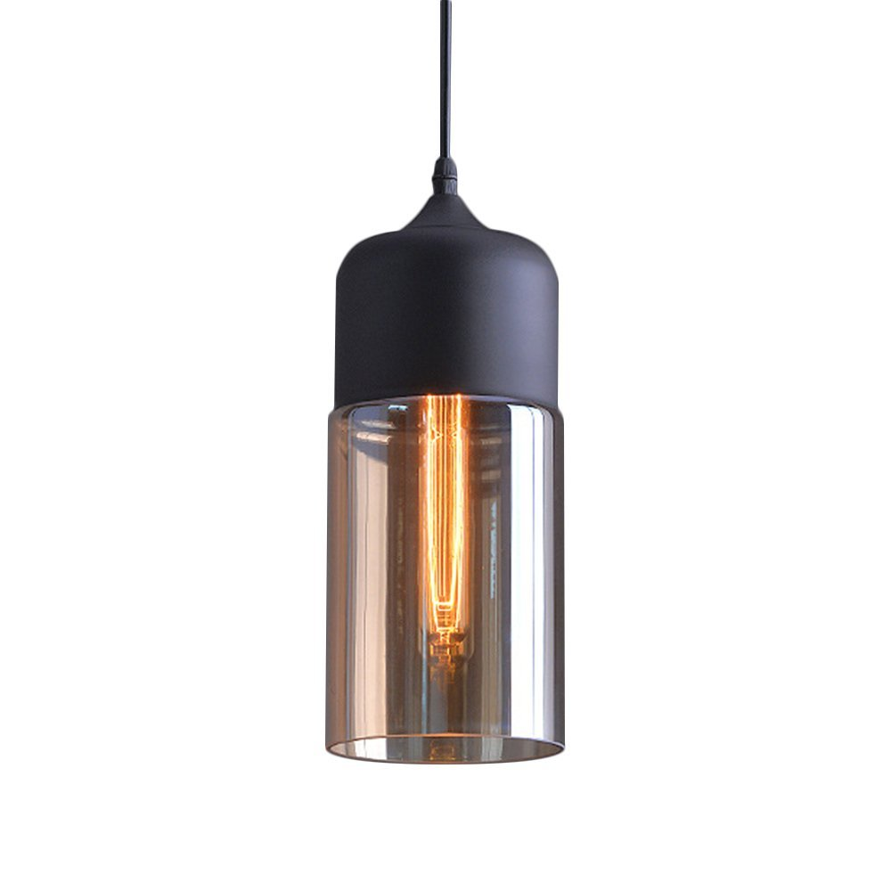 "Glass Industrial Pendant Light, MKLOT Ecopower Minimalism Vintage 5.12"" Wide Wrought Iron Metal & Amber Glass Ceiling Lighting Simple Lamp Fixture Chandelier 1-Light, Black"