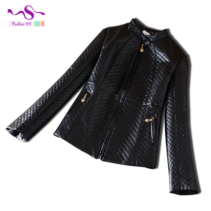 2015 Female's fashion cotton coat stand collar PU leather plaid zipper black vintage women faux leather jacket plus size YT159