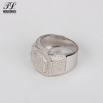 In Stock Aaaaa Fashion Hot Guys Wear Thai Ring Silver Cz Mens