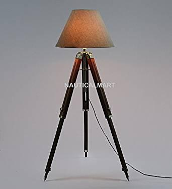 Nauticalmart Floor Standing Chrome Finish Wooden Tripod Floor lamp