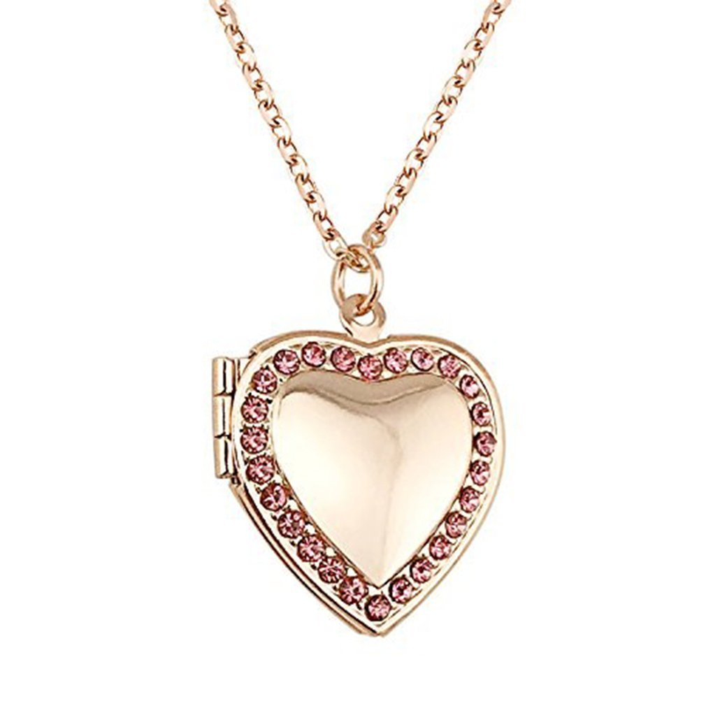 f4b7f57ee Get Quotations · SOURBAN Love Heart Pendant Necklace With Diamond Pendant  Birthstone Locket Charm Living Memory Locket Rose Gold