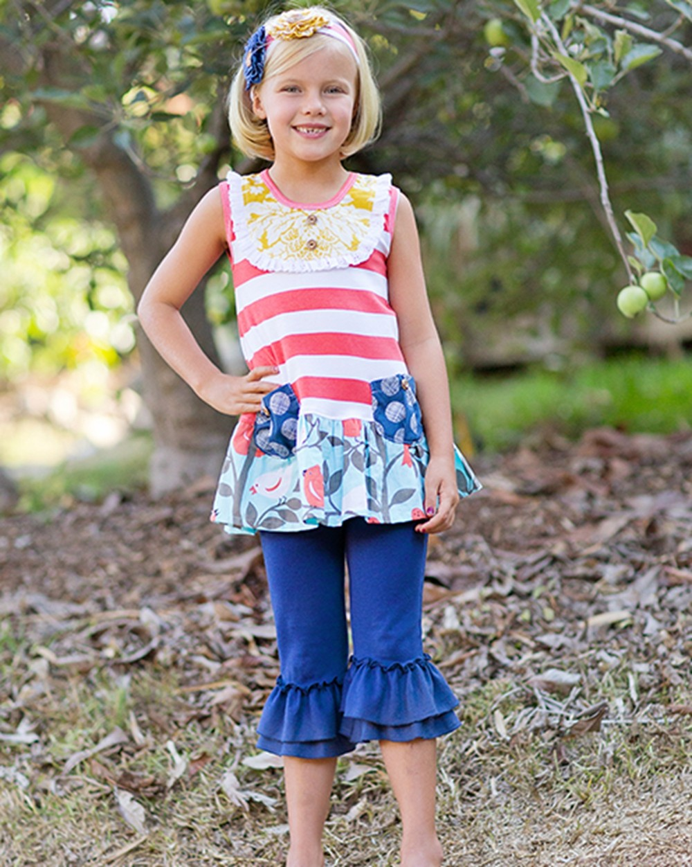 summer Green floral girls dress girl Red belt dress children boutique clothing wholesale