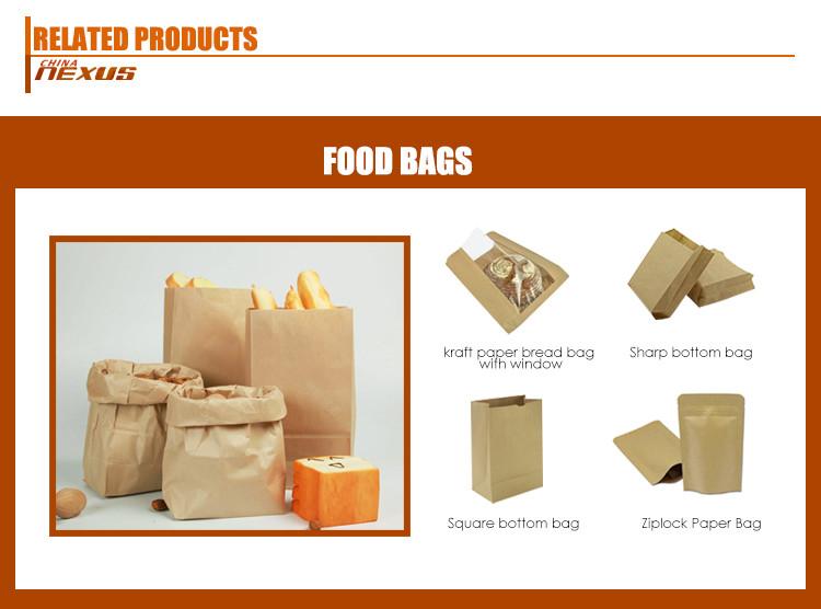Costume impresso gorduras sacos de papel marrom para o pão da padaria + durável saco de papel de alimentos pão de papel kraft com janela