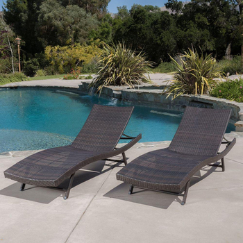 Wholesale High Back Stackable Backrest Rattan Woven Outdoor Pool